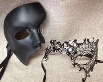 Men Women Couple Black Metal and One Eye Phantom Venetian Masquerade Mask