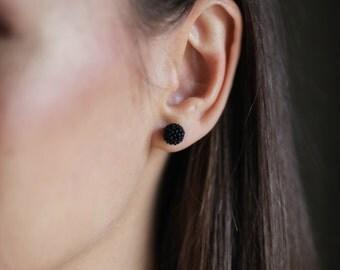 Stud earrings. Black studs. Black stud earrings. Beaded earrings. Beaded stud earrings. Seed bead earrings. Every day earrings.