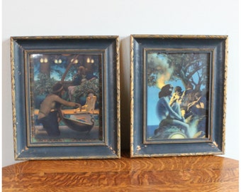 M5944 Antique Original Pair Maxfield Parrish Framed Edison Mazda Lithograph art print calendar tops.Egypt, Primitive Man