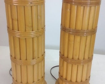 Bamboo Lamps pair