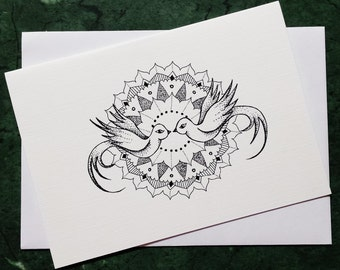 Doves - Greeting Card with print of original artworks