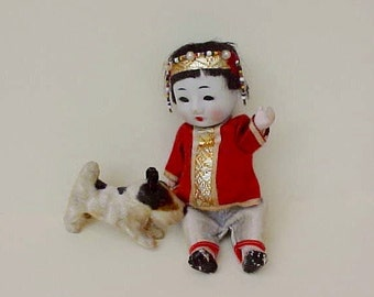 Adorable Little Vintage Chinese Toddler Doll With Bisque Head