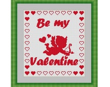 Cross stitch pattern Be My Valentine,Instant download PDF, Valentines Day Cross Stitch Pattern