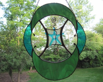 Teal and Green Oval Panel with Wire Accents