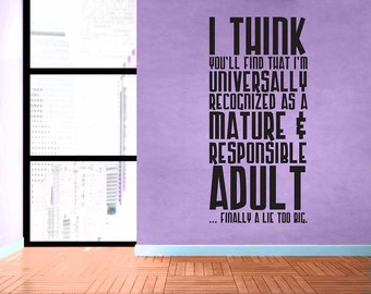 Doctor Who Quote - Responsible Adult - Removable Vinyl Wall Decal Sticker