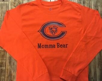 "Personalized ""Momma Bear"" Chicago Bears Shirt Long sleeve"
