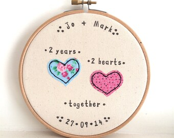 Cotton 2nd Anniversary personalised embroidery hoop framed wall art. Stitched fabric applique picture gift. Hearts wedding love.