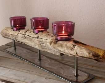 Atmospheric tea light holder from driftwood