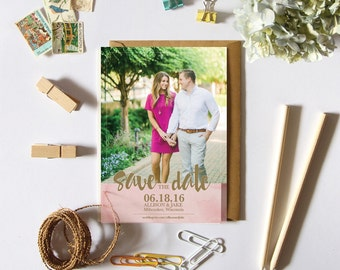 Save the Date Pink Watercolor and Photo Printable PDF