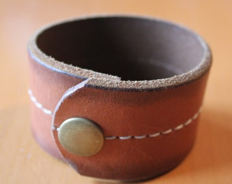 upcylced/recycled stitched brown leather cuff bracelet