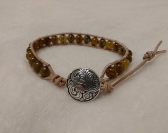 Bead Leather Wrapped Bracelet