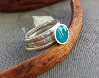 Sterling silver resin stacking rings