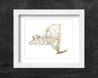 Gold Map of New York State, White Background 10x8, Printable Decor, Digital Download