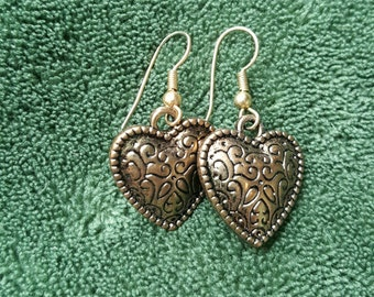 Heart of Gold Dangle Earrings Lightweight