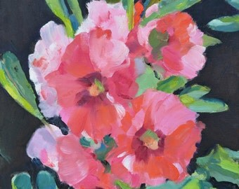 Flowers, still life, oil painting, flowers painting, impressionism, floral art, small art, hollyhocks