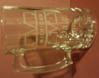 Michigan sandblast etched personalized beer mug