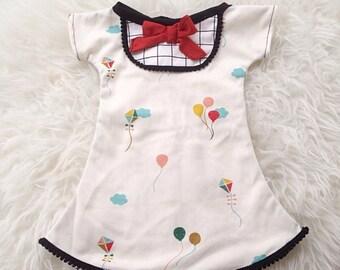 baby girl dress 100% organic cotton knit with pom pom trim