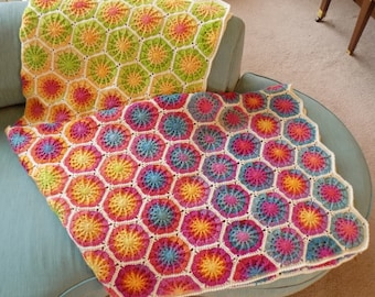 Completed Crochet Hexagon Afghan
