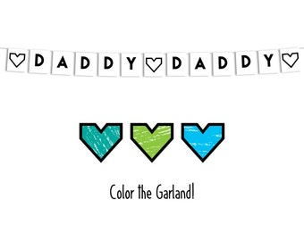 Father's Day - Daddy Hearts Garland - Printable