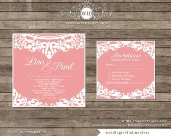 Square Pink Lace Wedding Invitation Wedding Set Printable