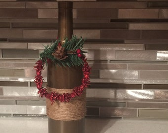 Christmas painted with twine added Christmas Ornament Wine Bottle/Bottles Crafts/Decor