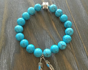 Turquoise Magnesite Beaded Bracelet with Charms