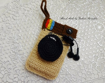 Crochet Phone Case, iPhone 5, 6, smart phone crochet cosy,  iPod Touch case nexus 5 Samsung Galaxy HTC Droid cozy, for headphones