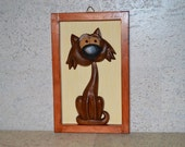 wood art sculpture, wood painting, bark of black poplar, pine, wood carving, decor for home, gift on a special occasion, Funny animal decor.