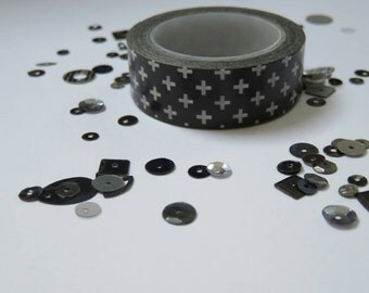 Black and white cross washi tape