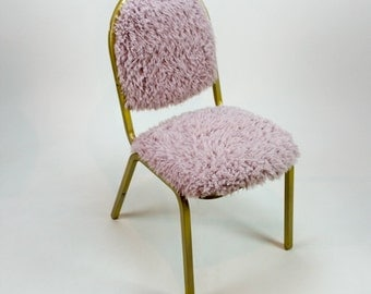 Retro Fuzzy Reupholstered Steel Chair