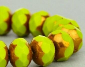 Czech Glass Beads - Czech Glass Rondelles - Gaspeite Opaque with Bronze Beads - 9x6mm - 25 Beads
