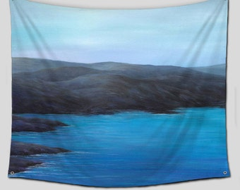 teal gray turquoise tapestry wall hanging by artfromdenisedecor. Black Bedroom Furniture Sets. Home Design Ideas