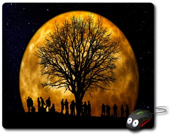 Artistic image Mouse Mat Computer Mouse Pad Vintage full moon tree of life human silhouette art Computer pad Office gift decor Computer desk