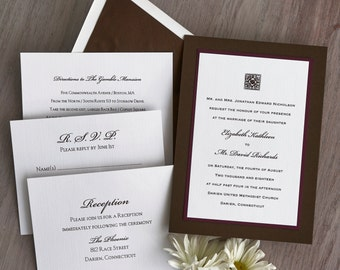 Reagan 3-Layer Wedding Invitations - Raised Print Wedding Invite - Custom Wedding Invitation Suite - AV6065
