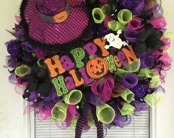 Halloween Witch Wreath, Halloween Wreath, Halloween Decor, Front door Halloween wreath