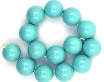 """14mm blue shell pearl round beads 7.5"""" strand 37014"""