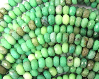 """6mm faceted green chrysoprase rondelle beads 15.5"""" strand 35034"""
