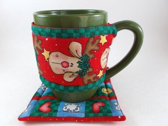 Fabric Coffee Mug Cozy and Coaster Christmas Print Cozy and Coaster Cup Cozy and Coaster Gift Exchange Christmas Gift Stocking Stuffer