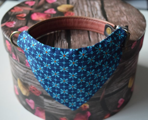 "Bandana ""Flowering Blue"" Bandanas for small or medium sized dogs cats , Blue Flowers on Blue Background"