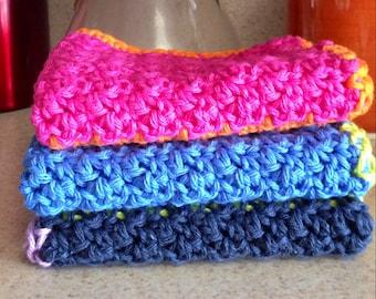 Crochet Dishcloth, Crochet Washcloth, Set of three