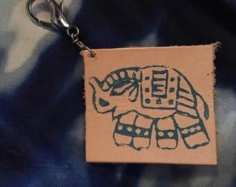 Leather Elephant Keychain