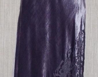 RICKIE FREEMAN for TJ.Nites Velvet Silk Gray Purple One Shoulder Gown Formal Dress Size 8