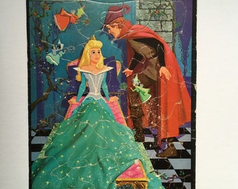 "Vintage ""Sleeping Beauty"" Frame-Tray Inlay Puzzle by Whitman Publishing-1958-Walt Disney No. 4433:29"