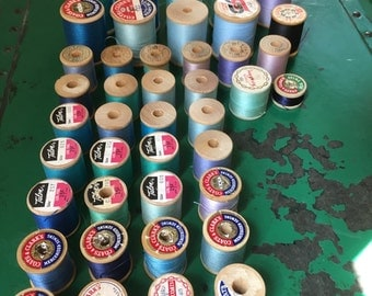 42 Vintage Wooden Spools of Thread-Blues-Purples-Lavenders-Talon-Belding Corticelli-Coats & Clark's-Craft Supplies