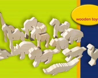 Wooden animals for colourig, set of 13