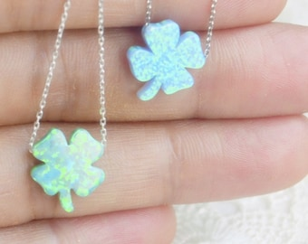 Opal Four Leaf Clover Silver Necklace, Leafage Amulet, Good Luck Charm, ST Patricks Day Gift, Irish Paganthree-Leaved Shamrock, Holy Trinity
