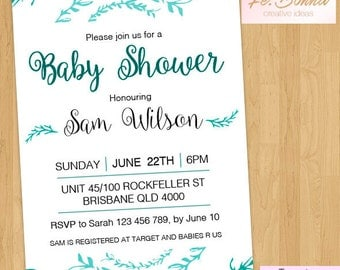 Baby Shower Invitation - - PRINTABLE JPEG or PDF file