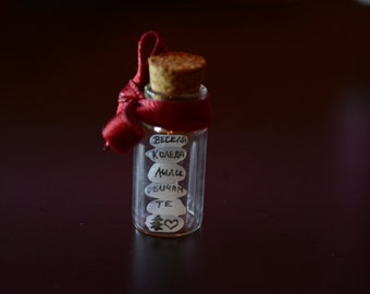 Mini jars pendant with wishes written on rice