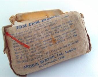 1938, Vintage, Arthur Berton, first field dressing, bandage, first aid, WW2, world war 2, vintage surgery, steampunk,  medicine, medical