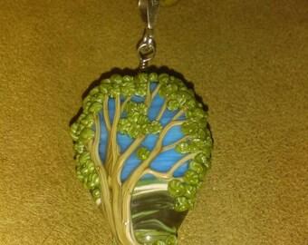 Reversible Lampwork Summer Oak Tree Necklace